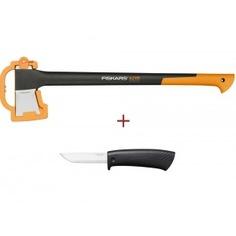 Промо-набор из двух предметов fiskars топор-колун х21 + универсальный нож 1025436