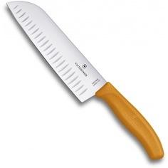 Оранжевый нож santoku с рифленым лезвием 17 см в картонном блистере victorinox 6.8526.17l9b