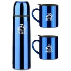 Набор арктика: классический термос 1л + 2 кружки 300мл 102-1000s синий