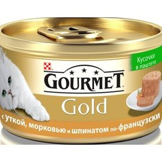Консервы Gourmet Gold кусочки в паштете с уткой, морковью и шпинатом по-французски для кошек 85г (12254204)