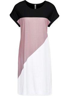 Платье из трикотажа (черный/белый/розовая пудра) Bonprix