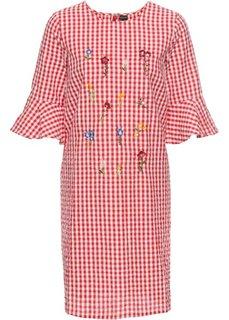 Платье в клетку виши с вышивками (цвет белой шерсти/клубничный в клетку) Bonprix