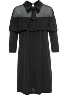 Платье с воротником и воланом (черный) Bonprix