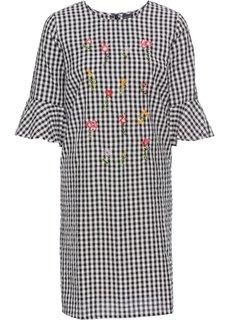 Платье в клетку виши с вышивками (цвет белой шерсти/черный в клетку) Bonprix