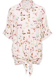 Блузка в стиле оверсайз и драпировкой в узел (розовый с узором) Bonprix