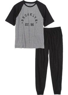 Пижама (черный/серый меланж) Bonprix