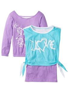 Ночная рубашка (2 шт.) (сиреневый/аква/белый с принтом) Bonprix