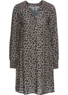 Платье (серый/черный с леопардовым рисунком) Bonprix