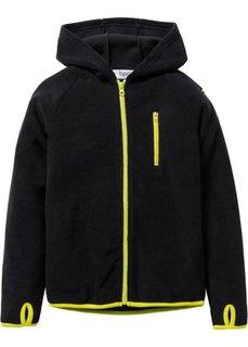 Флисовая куртка с контрастными деталями (черный/зеленый лайм) Bonprix