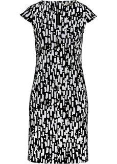 Платье из трикотажа (черный/белый с рисунком) Bonprix