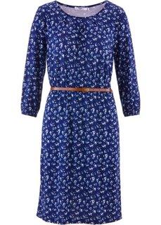 Трикотажное платье с рукавом 3/4 + ремень из искусственной кожи (2 изд.) (ночная синь в цветочек) Bonprix
