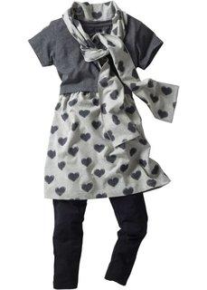 Платье, легинсы и шарф (светло-серый меланж/антрацитовый меланж) Bonprix