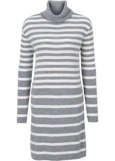 Вязаное платье в полоску (светло-серый меланж/цвет белой шерсти) Bonprix
