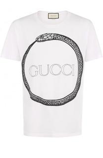Хлопковая футболка с принтом Gucci