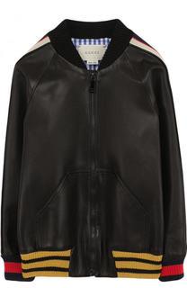 Кожаная куртка-бомбер с контрастной отделкой Gucci