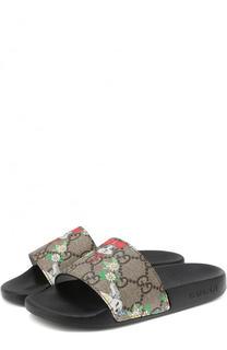 Кожаные шлепанцы с принтом Gucci