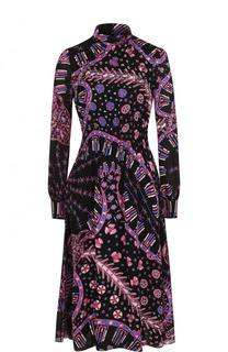 Приталенное шелковое платье с принтом Valentino