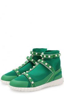 Высокие текстильные кроссовки Valentino Garavani Free Rockstud Valentino