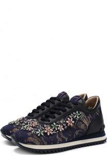 Текстильные кроссовки с кружевной отделкой и кристаллами Le Silla