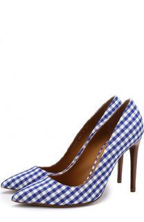 Текстильные туфли с принтом на шпильке Ralph Lauren