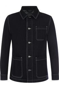 Джинсовая куртка на пуговицах с контрастной прострочкой BOSS
