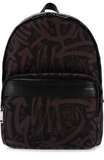 Текстильный рюкзак с кожаной отделкой Bally