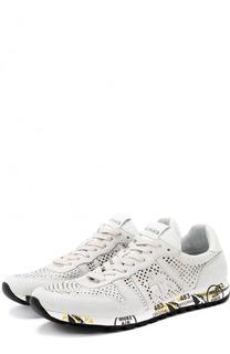 Замшевые кроссовки на шнуровке с перфорацией Premiata