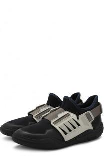 Текстильные кроссовки без шнуровки Lanvin