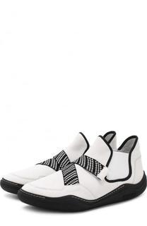 Высокие кожаные кроссовки без шнуровки Lanvin