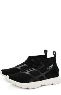 Текстильные кроссовки Valentino Garavani Sound High на шнуровке Valentino