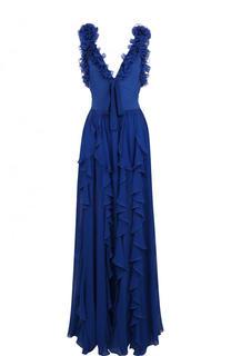 Приталенное шелковое платье-макси с оборками Elie Saab