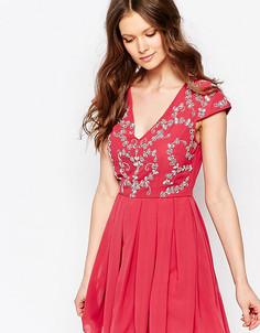 Короткое приталенное платье с декорированным топом Maya Petite - Фиолетовый