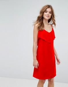 Платье на бретелях с оборкой Lavand - Красный