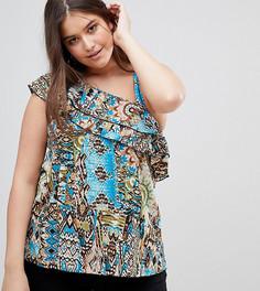 Блузка на одно плечо с оборками и платочным принтом Lovedrobe - Мульти