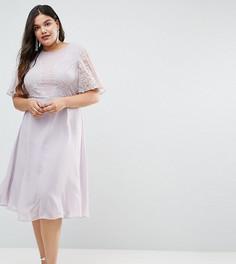 Платье миди с изысканной кружевной отделкой ASOS CURVE WEDDING - Синий