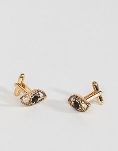 Золотистые запонки с кристаллами ASOS - Золотой