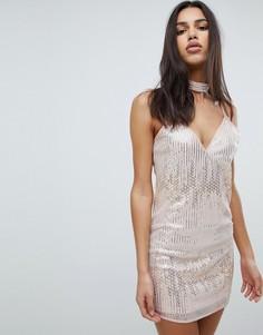 Платье мини с чокером и отделкой Love & Other Things - Розовый