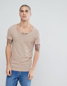 Обтягивающая футболка с глубоким вырезом ASOS - Бежевый