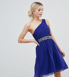 Короткое приталенное платье на одно плечо с отделкой Little Mistress Petite - Синий