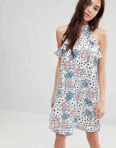 Платье с принтом и оборками Glamorous - Розовый