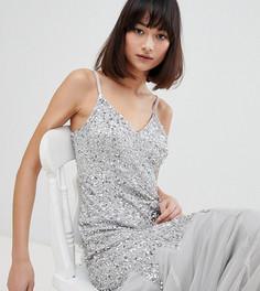 Платье макси с камуфляжным принтом и пайетками Maya - Серый