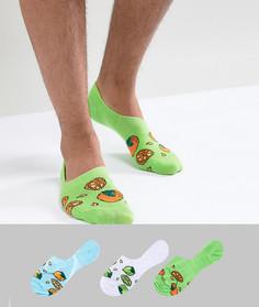 3 пары невидимых носков с принтом цитрусов ASOS DESIGN - Мульти