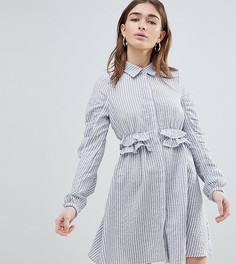 Платье-рубашка с баской Lost Ink Petite - Серый