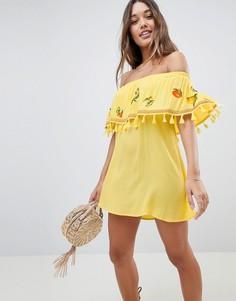 Пляжное платье-бандо с вышивкой ASOS - Желтый