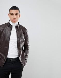 Куртка из искусственной кожи на молнии Soul Star - Коричневый