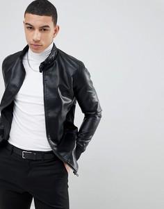 Куртка из искусственной кожи на молнии Soul Star Punched - Черный