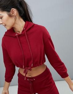 Худи красного цвета укороченного кроя с затягивающимся шнурком South Beach - Красный