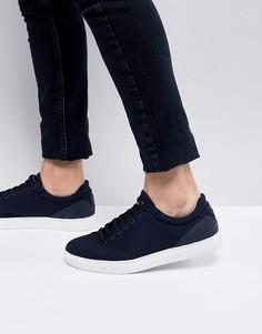 Мужские темно-синие парусиновые кроссовки Emporio Armani - Темно-синий