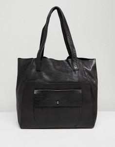 Сумка из натуральной кожи с карманом Urbancode - Черный