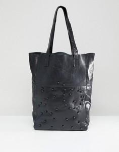 Кожаная сумка-шоппер с бусинами Urbancode - Черный